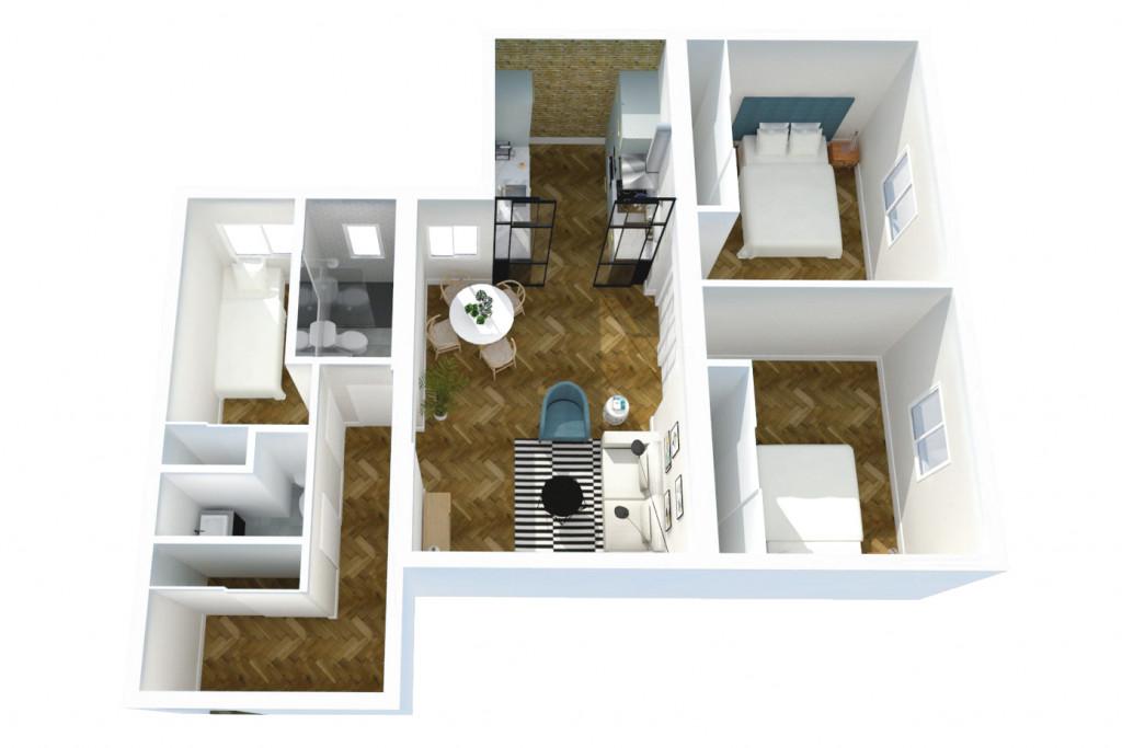 Reforma piso madrid chamartín arquitectura interiores studiobmk vista axonométrica